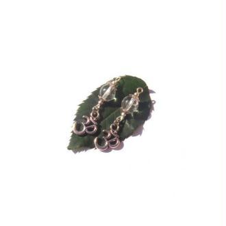 Ohm, Cristal de roche : Paire de pendentifs 3,5 CM de hauteur x 1,2 CM