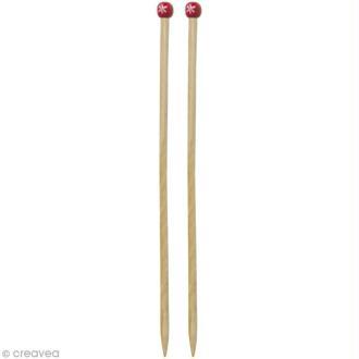 Aiguille à tricoter bambou rouge  - 10 mm - 1 paire