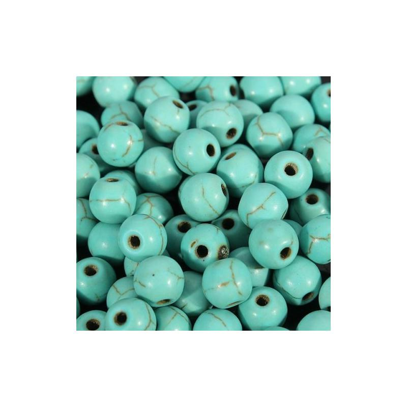 20 perle 6mm Naturel Pierre Turquoise creation bijoux, bracelet, collier - Photo n°2