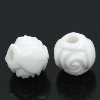 Lot 50 Perles Rond Fleur 6mm Couleur Blanc Fleurs Creation bijoux, collier