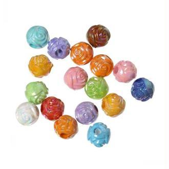 Lot 50 Perles Rond Fleur 6mm Couleur Mixte Fleurs Creation bijoux, collier