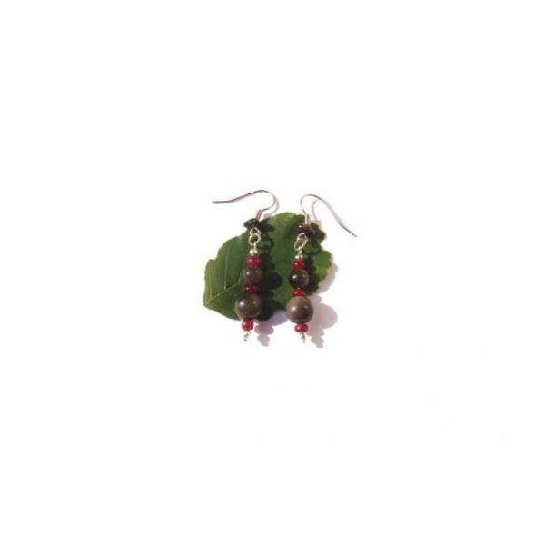 Le Feu dans l'Eau : BO Obsidienne Dorée et Rubis 5 CM de hauteur - Photo n°1