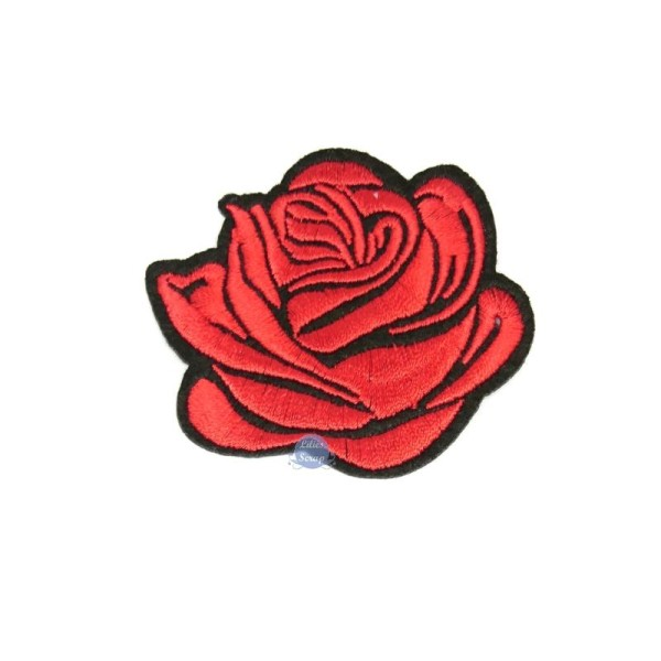 Ecusson Brode Fleur Rose Rouge Patch Thermocollant 6 Cm Motif