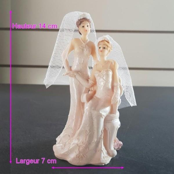 Figurine Couple De Mariees Femmes En Robe Creme En Resine 14 X 7 Cm Mariage Piece Montee Figurines Creavea