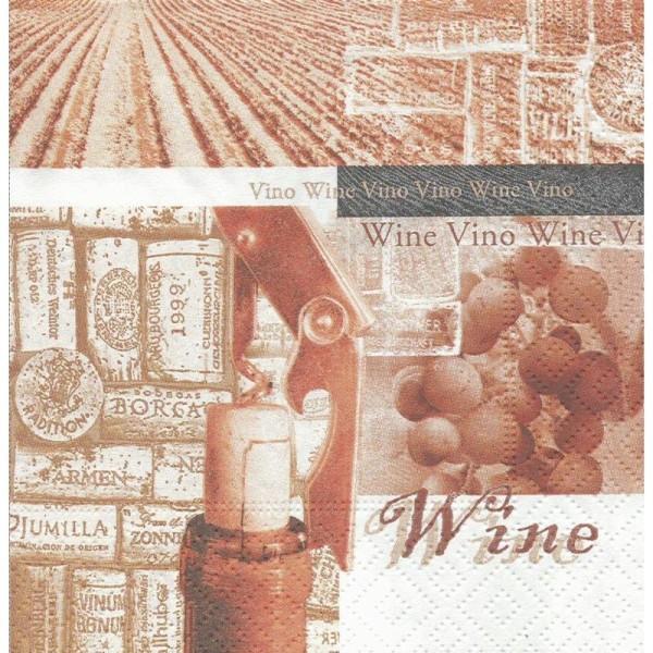 4 Serviettes en papier Cuisine Vin d'âge Format Cocktail - Photo n°1