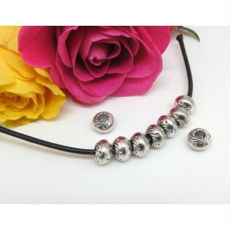 4 Perles Métal , Ronde aplatie, Intercalaire, Métal Vieil argent, Gros Trou, 9.5*6.5 mm