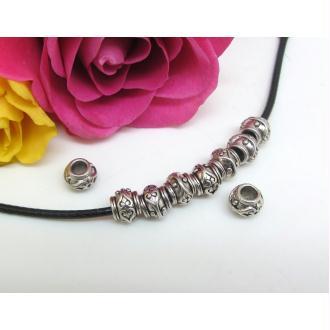 6 Perles Métal , Ronde aplatie, Rondelle, Métal Vieil argent, Gros Trou, 6.5*8 mm