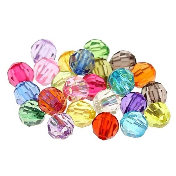 Lot 50 perles rondes rayées 6 mm couleur mixte