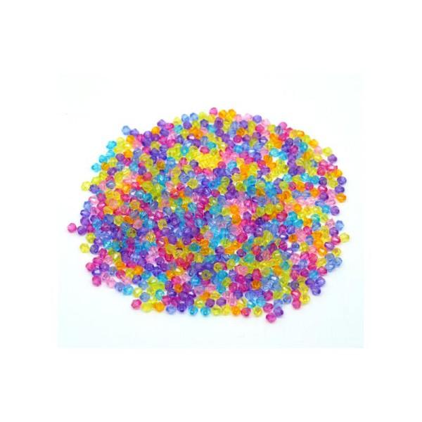 Lot 100 ou 200 Perles 4 x 4mm Intercalaires Bicone toupie Acrylique Violet Foncé