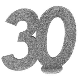 Déco anniversaire chiffre 30 argent pailleté