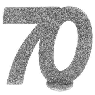 Déco anniversaire chiffre 70 argent pailleté