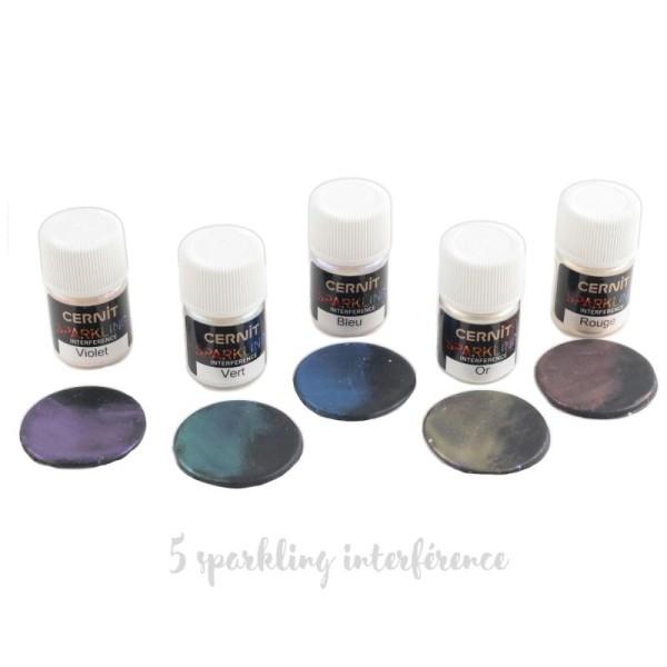 Poudre de Mica et de verre Cernit Sparkling (Cernit Sparkling - Couleurs et poids Diamond Violet 5g) - Photo n°4