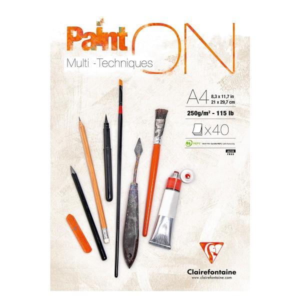 Clairefontaine 96537C Bloc de papier pour pastel/gouache/acryliqueA4 40 Feuilles Blanc - Photo n°1