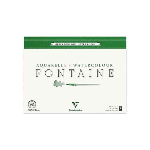 Clairefontaine 96432C Bloc de papier aquarelle Grain Torchon Encollé sur 4 cotés 25 Feuilles Blanc - Photo n°1