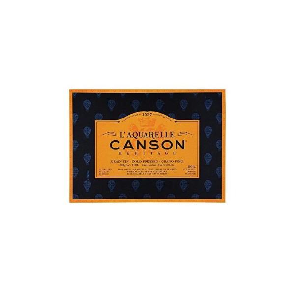 canson L'Aquarelle Canson Héritage Bloc collé 4 cotés 20 feuilles grain fin 300 g 36 x 51 cm Blanc - Photo n°1