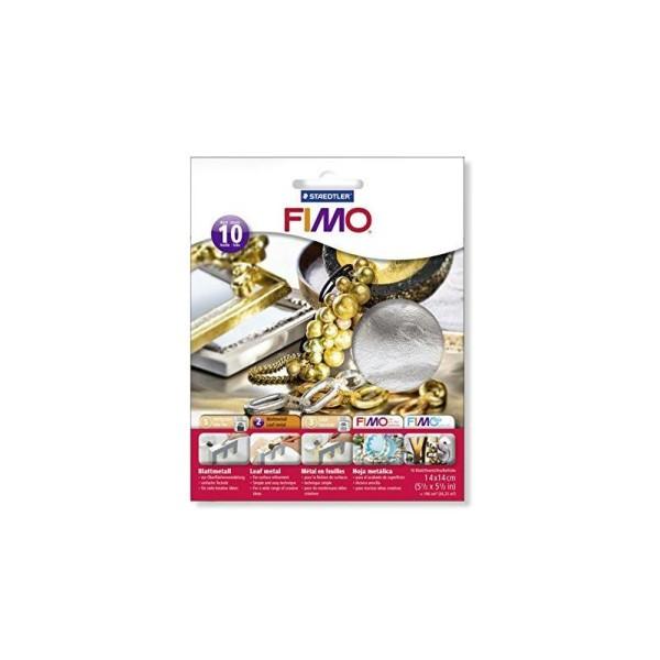 Staedtler Fimoâ Accessoires Pack de 10 Feuilles métalliques Argent 14 x 14 cm - Photo n°1