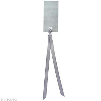Marque place rectangle avec ruban 3 x 7 cm - Argent x 12