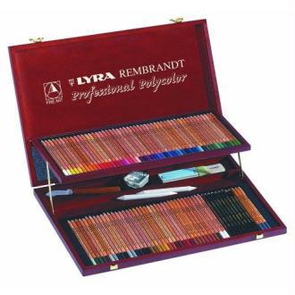 Lyra - Coffret bois de 96 crayons de couleur Polycolor + accessoires, couleurs assorties