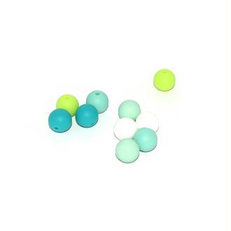 Perle silicone camaïeu vert 12 mm x10