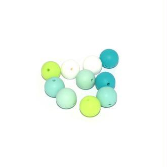 Perle silicone camaïeu vert 15 mm x10