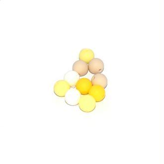 Perle silicone camaïeu jaune 12 mm x10