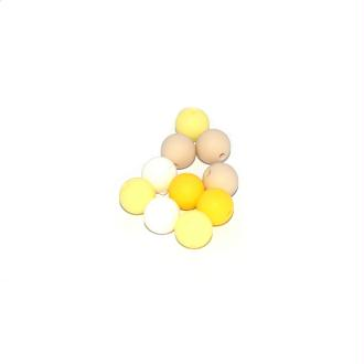 Perle silicone camaïeu jaune 15 mm x10