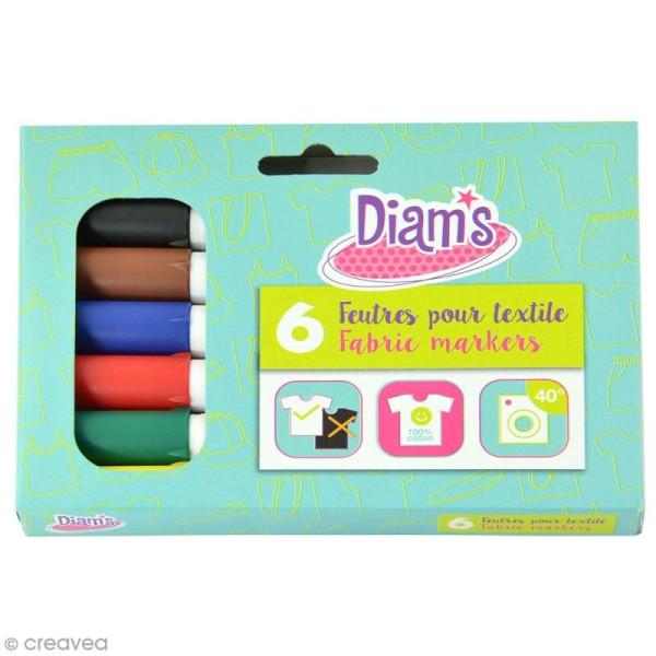 Feutre textile Diam's - Basic - 6 feutres permanents - Photo n°1