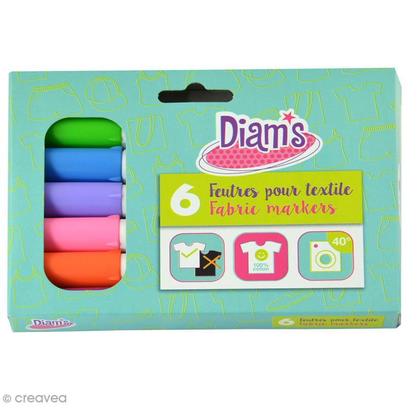 Feutre textile Diam's - Fun - 6 feutres permanents - Photo n°1