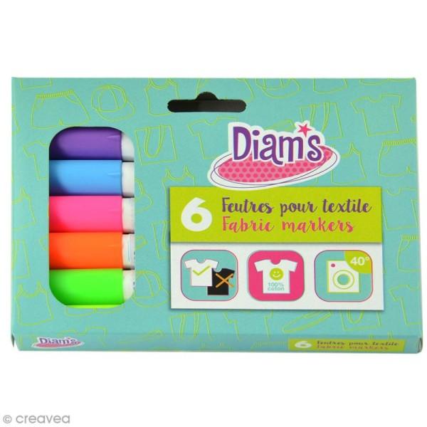 Feutre textile Diam's - Fluo - 6 feutres permanents - Photo n°1