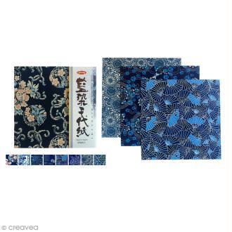 Papier Origami Japonais - 8 motifs traditionnels - 15 x 15 cm - 8 feuilles