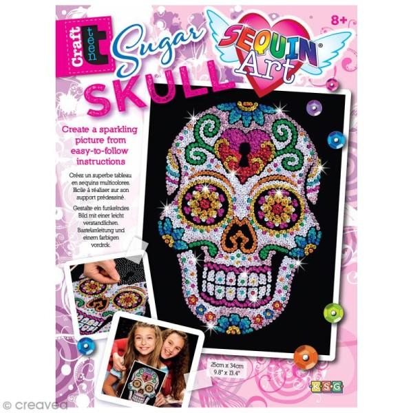 Sequin Art - Sugar skull - tableau 25 x 34 cm - Photo n°1