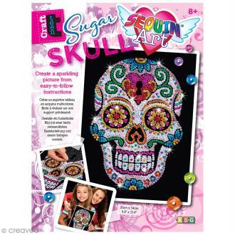 Sequin Art - Sugar skull - tableau 25 x 34 cm
