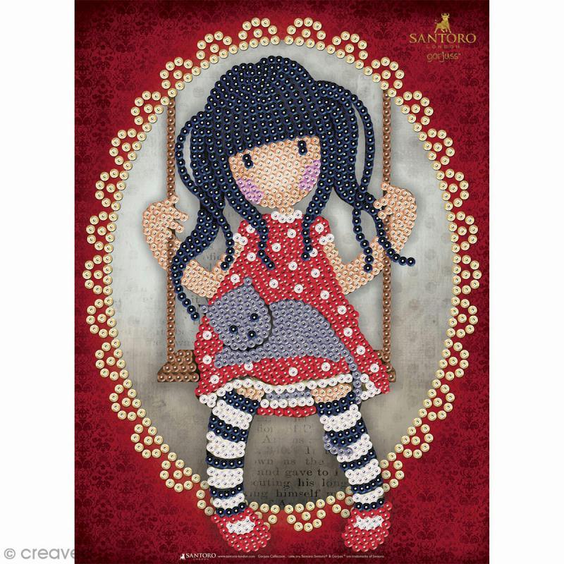 Sequin Art - Gorjuss - Fillette au chat - tableau 25 x 34 cm - Photo n°1