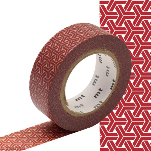 Masking tape à motif traditionnel japonais - Chevrons - 1,5 cm x 10 m - Photo n°1