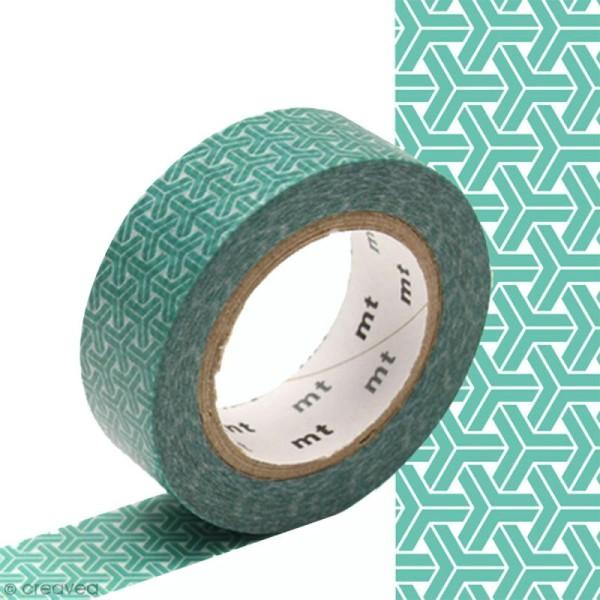 Masking tape à motif traditionnel japonais - Chevrons - 1,5 cm x 10 m - Photo n°1