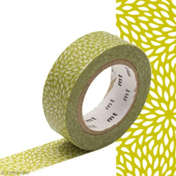 Masking tape Fleur de riz Vert anis - 1,5 cm x 10 m - Photo n°1