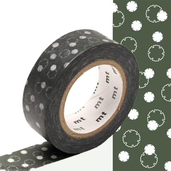 Masking tape Fleur de coton Gris foncé - 1,5 cm x 10 m - Photo n°1