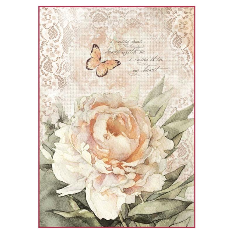 1 feuille de papier de riz 21 x 29 7 cm d coupage collage stamperia vintage fleur papillon 4278. Black Bedroom Furniture Sets. Home Design Ideas