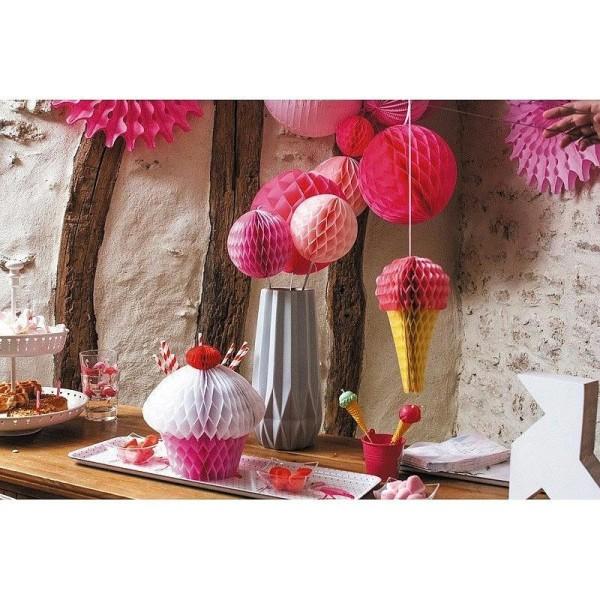 Cupcake Rose Alvéolé en papier, 20 x 20 cm, décoration gourmande et estivale - Photo n°2