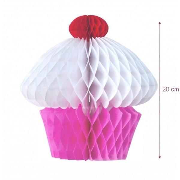 Cupcake Rose Alvéolé en papier, 20 x 20 cm, décoration gourmande et estivale - Photo n°1