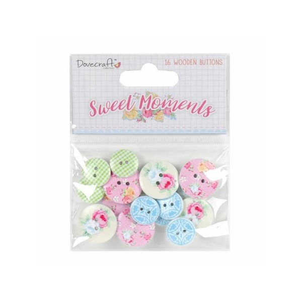 16 boutons ronds bois, scrapbooking Dovecraft SWEET MOMENTS - Photo n°1