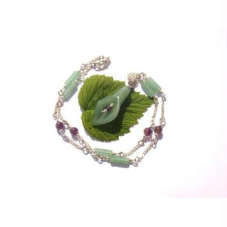 Autour du Féminin Sacré : Collier Fleur de Coeur Aventurine et Améthyste 45,5 CM