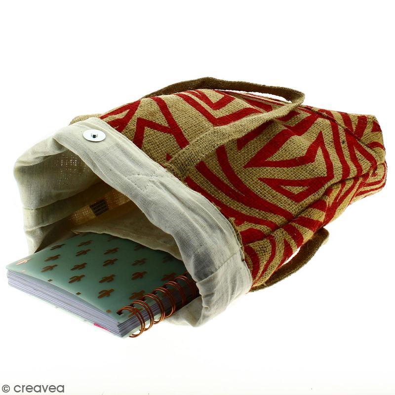 Tote bag en jute naturelle - Tribal ethnique - Rouge - 28 x 33 cm - Photo n°3