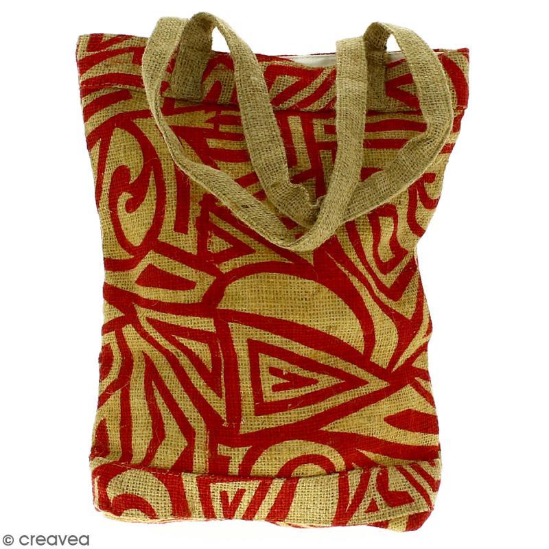 Tote bag en jute naturelle - Tribal ethnique - Rouge - 28 x 33 cm - Photo n°4