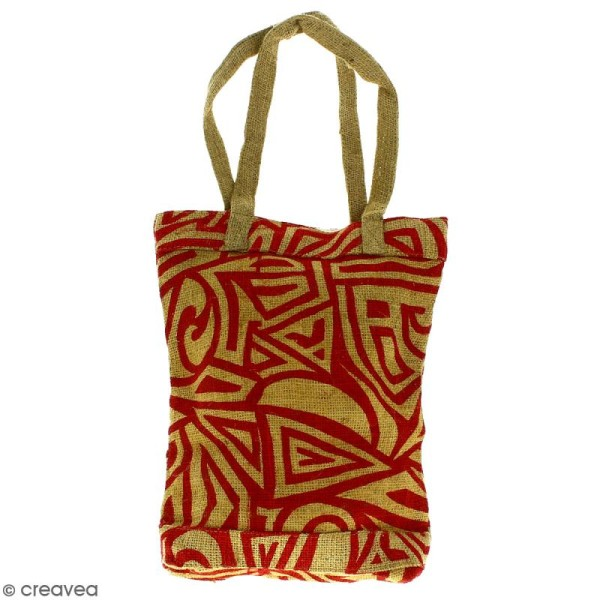 Tote bag en jute naturelle - Tribal ethnique - Rouge - 28 x 33 cm - Photo n°1