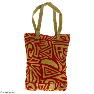 Tote bag en jute naturelle - Tribal ethnique - Rouge - 28 x 33 cm