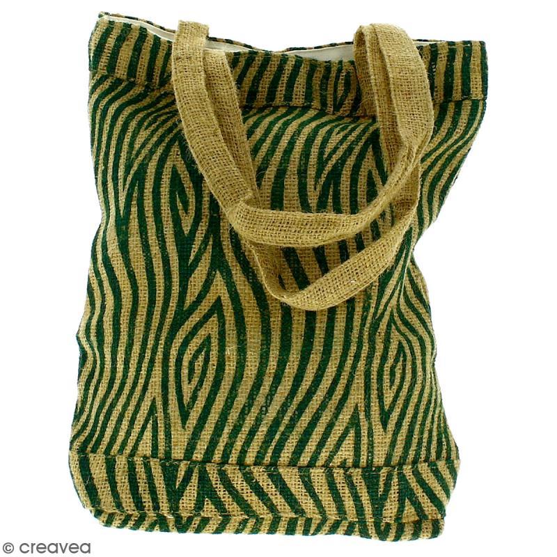 Tote bag en jute naturelle - Zébré - Vert foncé - 28 x 33 cm - Photo n°4