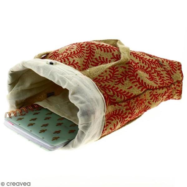 Tote bag en jute naturelle - Arabesques Végétales - Rouge foncé - 28 x 33 cm - Photo n°3
