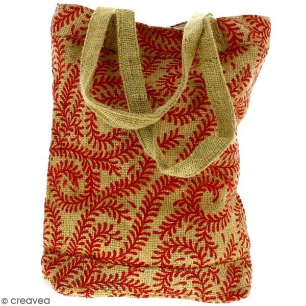 Tote bag en jute naturelle - Arabesques Végétales - Rouge foncé - 28 x 33 cm - Photo n°4