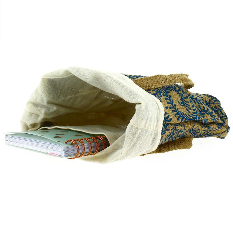 Tote bag en jute naturelle - Arabesques végétales - Bleu - 28 x 33 cm - Photo n°2